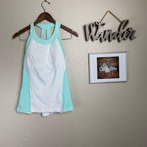 Lululemon White and Baby Blue Tank with Bra Pads